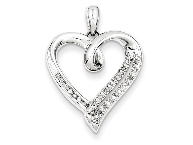 Genuine .925 Sterling Silver Diamond Heart Pendant 2.9 Grams.