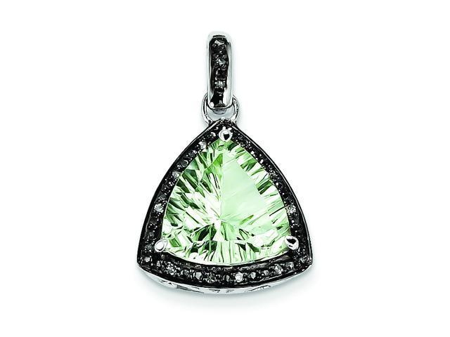 Genuine .925 Sterling Silver Green Quartz And Diamond Pendant 2.2 Grams.