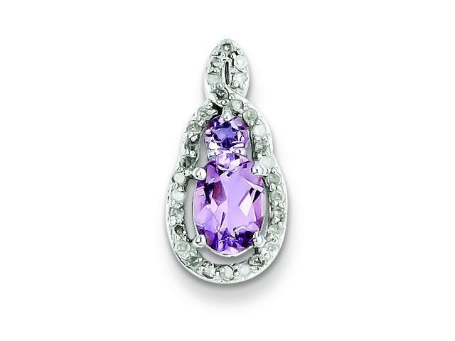 Genuine .925 Sterling Silver Diamond & Pink Amethyst Teardrop Pendant 1.4 Grams.