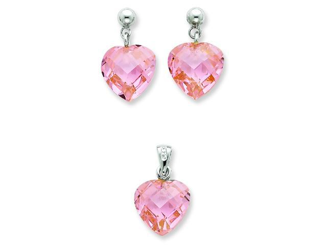 Genuine .925 Sterling Silver Pink CZ Heart Earring & Pendant Set.