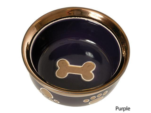 Ritz Copper Rim Ceramic Dog Dish - Purple 10""