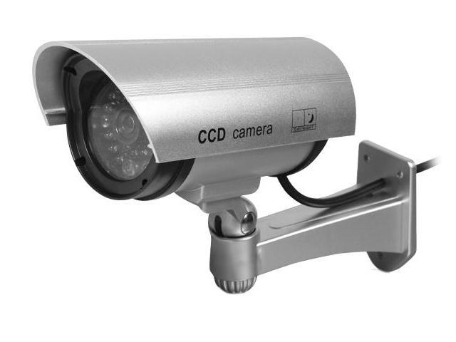 Indoor / Outdoor Dummy Camera, Waterproof with a Flashing / Blinking Red LED Light, Maximize Your Security & Minimize Your Cost, Imitation Body in (Gray)