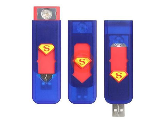 Superman Environment-friendly Rechargeable USB Powered Electronic Cigarette Lighter  Blue