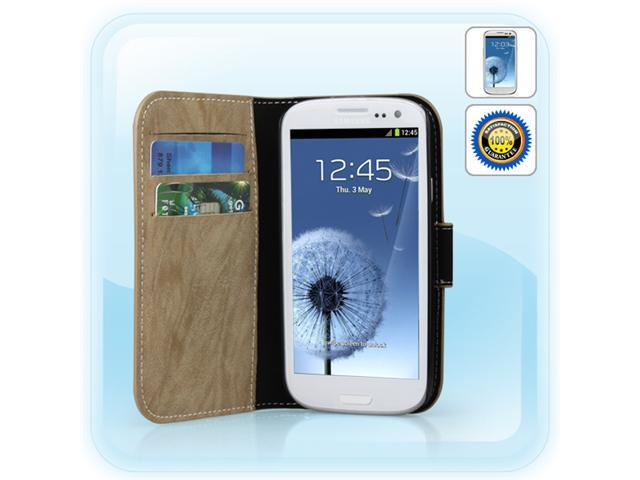 New Arrival! DreSuit Protective PU Cover Plastic Case for Samsung Galaxy S III S3 GT-i9300 (Light Khaki)+ premium clear screen ...
