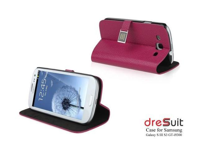 New Arrival! DreSuit Samsung Galaxy S3 Leather Wallet Case with high quality premium clear screen protector for galaxy S3 Siii GT i9300 (Rose Pink)