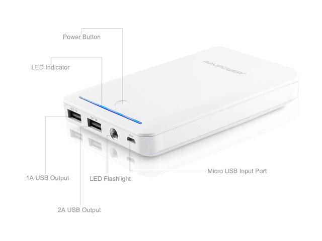 RAVPower Deluxe 14000 mAh iSmart Power Bank External Battery Charger - Dual USB Output 5V / 1A & 5V / 2.4A (White) for iPhone, iPad, Samsung Galaxy, Note, Google Nexus, HTC One and other mobile device
