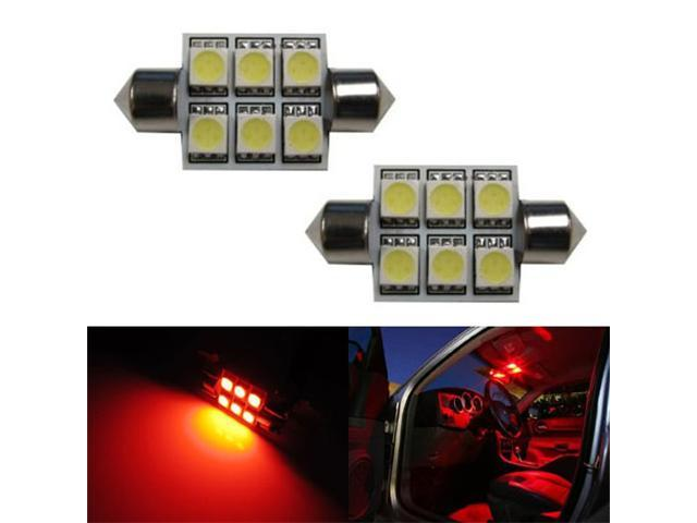 iJDMTOY 6-SMD 1.50 inches 6411 6418 LED Interior Map Dome Lights, Brilliant Red