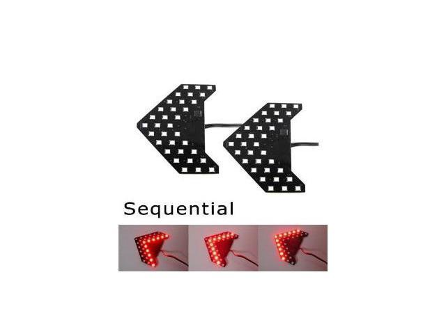 iJDMTOY Sequential Flashing 33-SMD Side Mirror <<< LED Turn Signal Arrow Lights, Brilliant Red