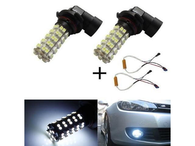 iJDMTOY 68-SMD H11 or H8 LED Fog Light Bulbs + Error Free Bypass Wiring Kit, Xenon White