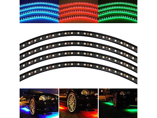 iJDMTOY Sound Active 7-Color RGB LED Underbody Under Car Lighting Kit (2 x 48 inches + 2 x 36 inches)
