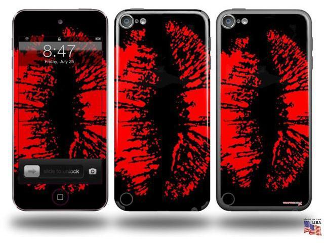 Big Kiss Red Lips on Black Decal Style Vinyl Skin - fits Apple iPod Touch 5G (IPOD NOT INCLUDED)