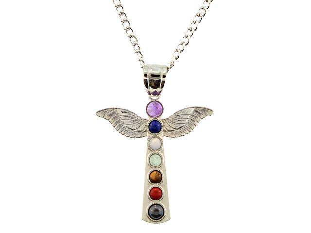 Multi Natural Gemstone Chakra Angel Pendant Necklace with Adjustable Chain