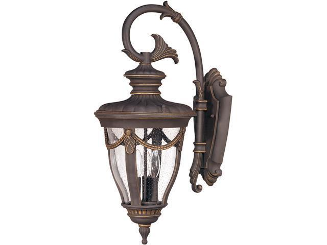 Nuvo Philippe - 3 Light Large Wall Lantern- Arm Down w/ Seeded Glass