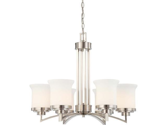 Nuvo Harmony - 6 Light Chandelier w/ Satin White Glass
