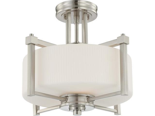 Nuvo Wright - 2 Light Semi Flush Fixture w/ Satin White Glass
