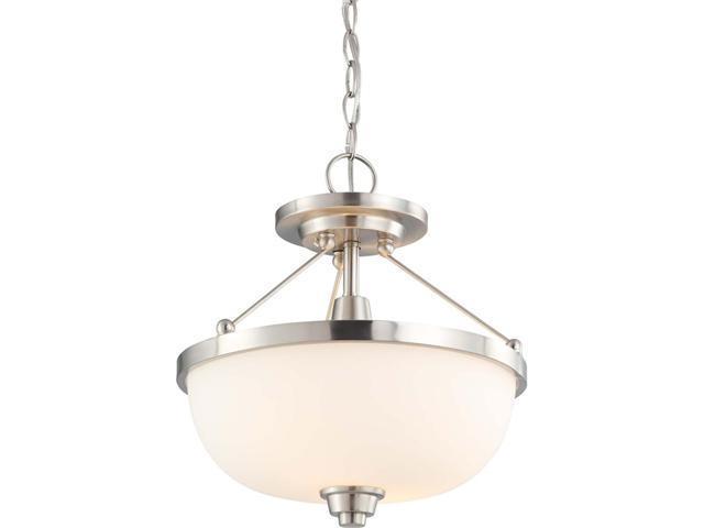 Nuvo Helium - 2 Light Semi Flush Fixture w/ Satin White Glass