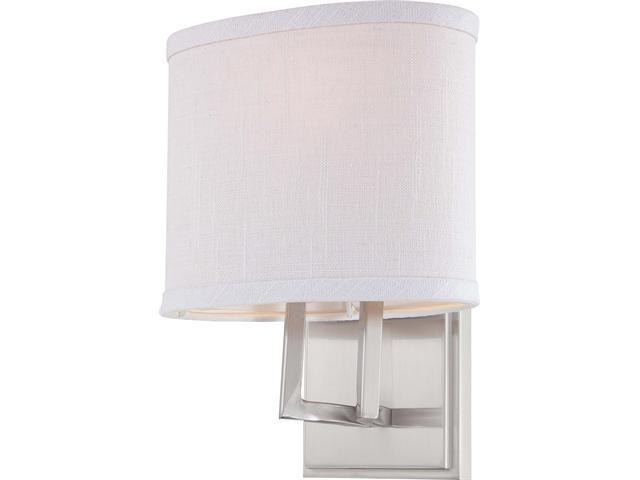 Vanity Light Fabric Shade : Nuvo Gemini - 1 Light Vanity Fixture w/ Slate Gray Fabric Shade - Newegg.com