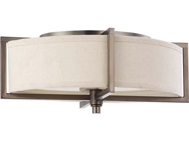 Nuvo Portia - 2 Light Oval Flush w/ Khaki Fabric Shade - (2) 13w GU24 Lamps Included