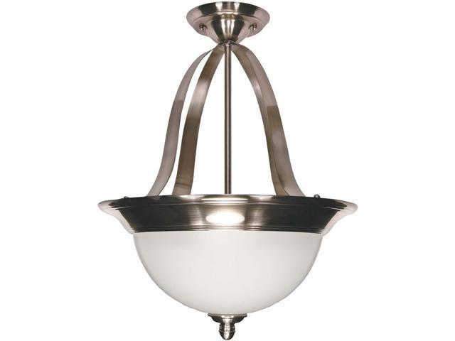 Nuvo Palladium - 3 Light - 16 inch - Pendant (Convertible) - w/ Satin Frosted Glass Shades