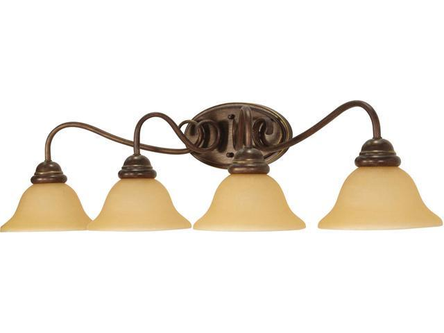 Nuvo Castillo - 4 Light - 33 inch - Wall Fixture - w/ Champagne Linen Washed Glass