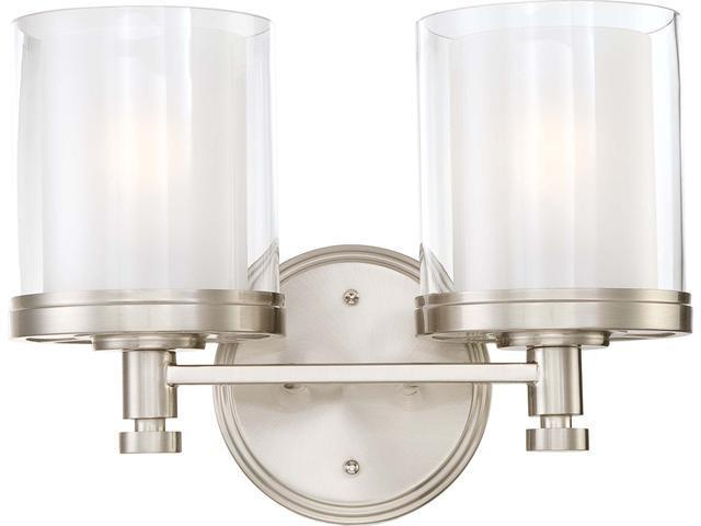 Nuvo Decker - 2 Light Vanity Fixture w/ Clear & Frosted Glass