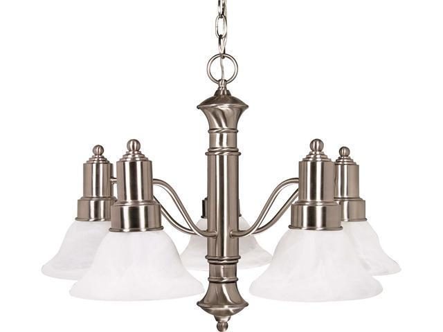 Nuvo Gotham ES - 5 Light 25 inch Chandelier w/ Alabaster Glass - 13w GU24 Lamps Incl