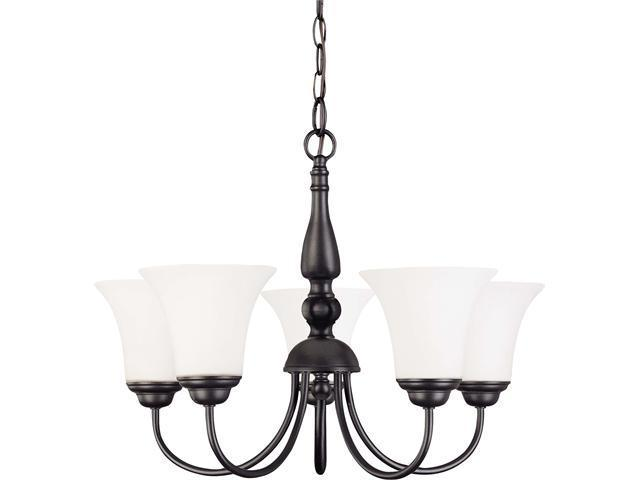 Nuvo Dupont ES - 5 light 21 inch Chandelier w/ Satin White Glass - 13w GU24 Lamps Included