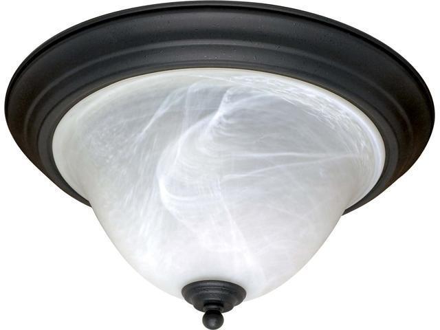 Nuvo Castillo - 2 Light - 16 inch - Flush Mount - w/ Alabaster Swirl Glass