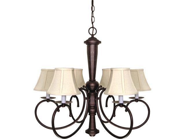 Nuvo Mericana - 6 Light - 27 inch - Chandelier - w/ Natural Linen Shades