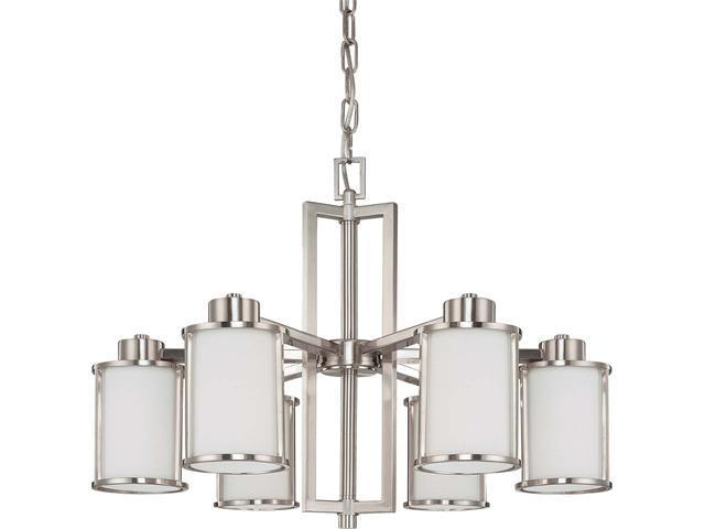 Nuvo Odeon - 6 Light (convertible up/down) Chandelier w/ Satin White Glass