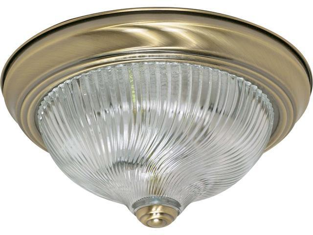 Nuvo 2 Light - 11 inch - Flush Mount - Clear Swirl Glass