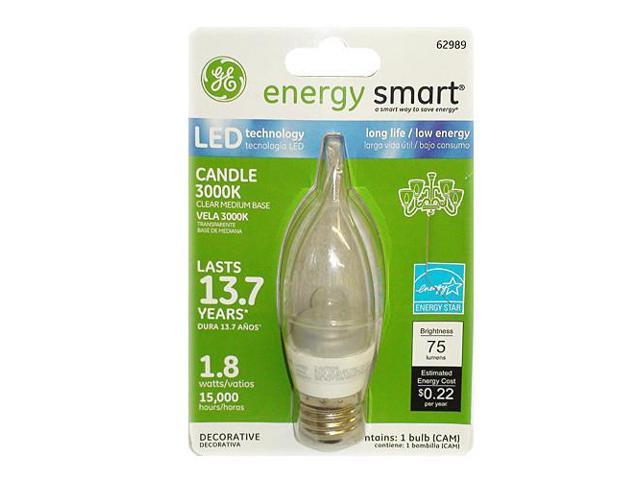 GE 1.8W 120V E26 LED Clear 3000k Energy Smart Candelabra Light Bulb