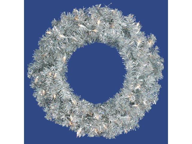 Vickerman 14792 - 24? Silver Wreath 50CL Lts 180T (B882325) 24 Inch Christmas Wreath