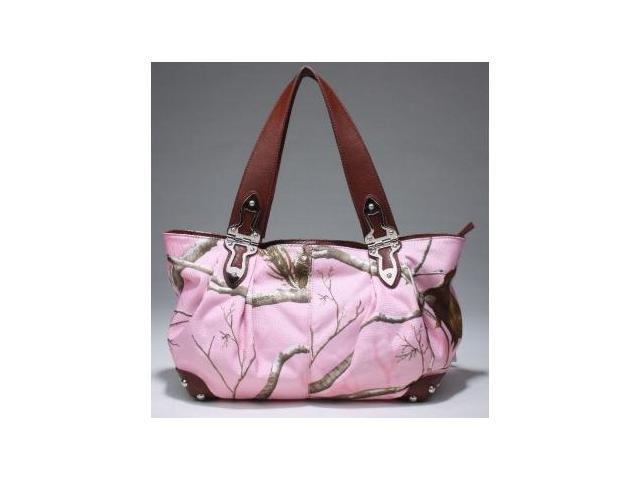 Realtree® APC Pink Camo Tote Handbag for Ladies (Pink/Chocolate)