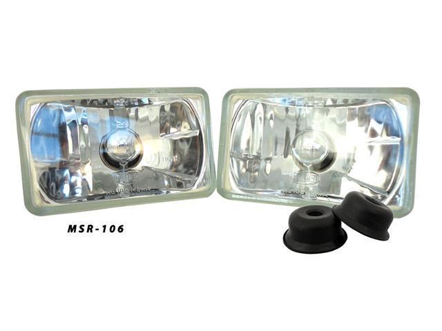 AutoPal DOT 4x6 Headlights Pair Uses H4 Bulbs Non-Sealed H4651 H4652 H4656 H4666