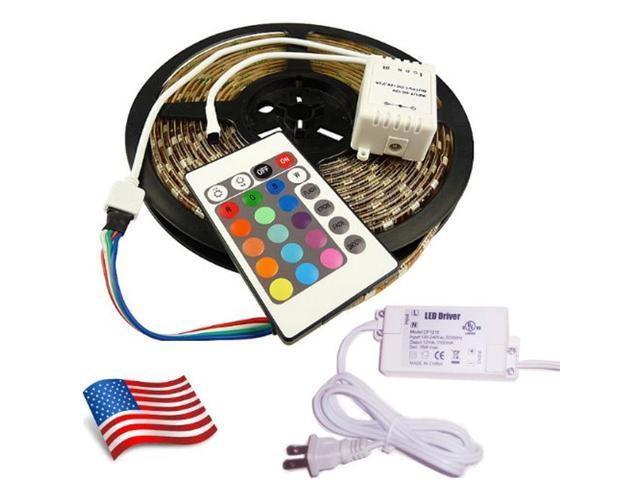 10M SMD 5050 RGB Waterproof 300 LED Strip 7 Color changing with Remote Control & Power Supply