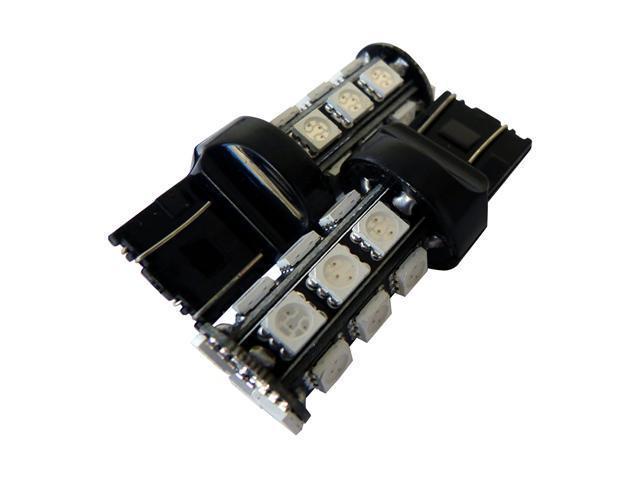AGT 7443 7440 White LED 18 SMD LED Bulbs Brake Signal Tail Backup (Pack of 2)