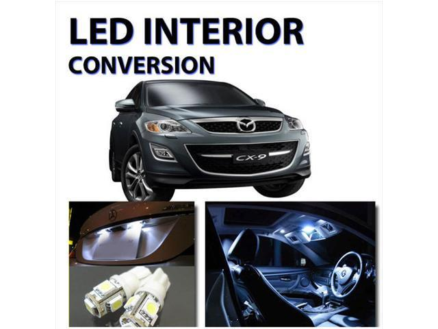 Bright WHITE 9pc LED Lights Interior Kit for Mazda CX7 2007-2010