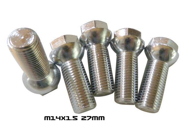 14x1.5 27mm Ball Extended Wheel Bolts Lug Chrome M14
