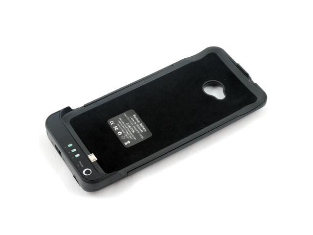 Black 3800mAh Portable External Battery Charger Case Cover For HTC One M7