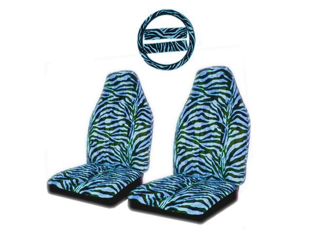 Blue Amp Black Zebra Animal Print Front High Back Seat
