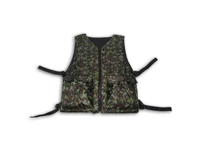 GXG Paintball Airsoft Reversible Tactical Zipper Vest Digital Green Camo + Black harness pod holder pack