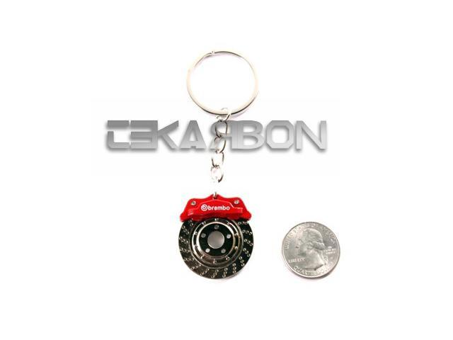 Brake Caliper Key Chain with Spinning Rotor - Red