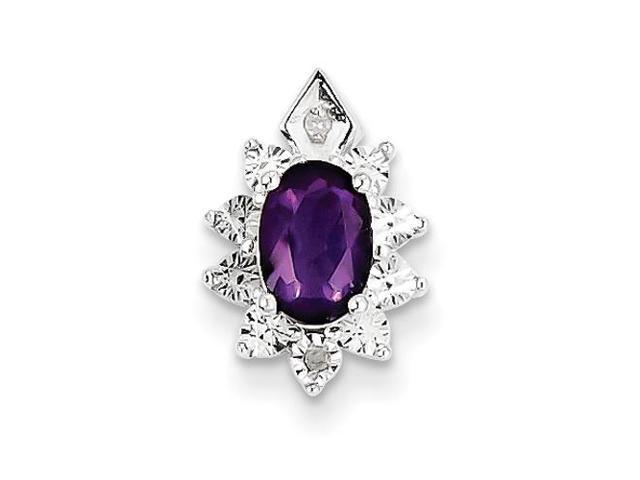 Sterling Silver Diamond & Amethyst Pendant