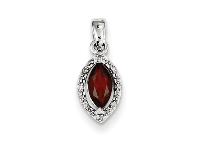 Sterling Silver Diamond and Garnet Pendant