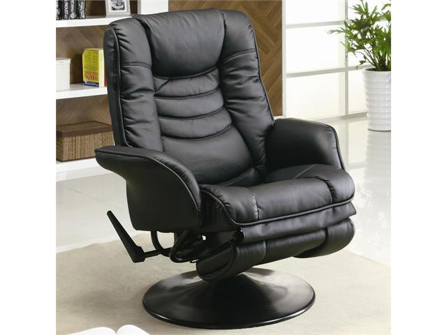 Casual Leatherette Swivel Recliner in Black Leatherette