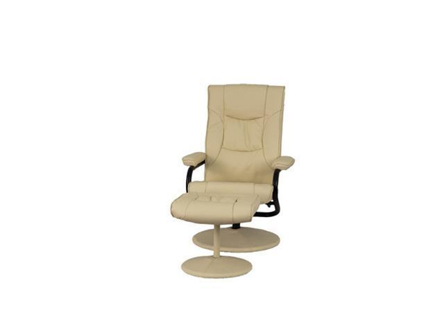 Contemporary Cream Leather Recliner and Ottoman with Leather Wrapped Base By Flash Furniture