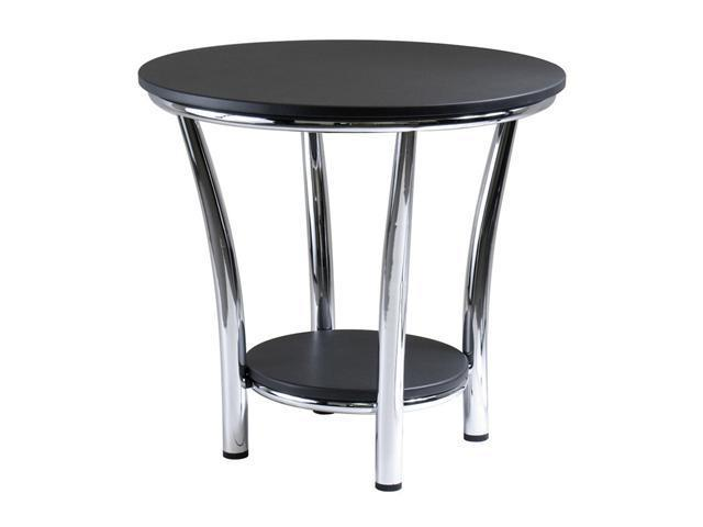 Maya Round End Table, Black Top, Metal Legs By Winsome Wood