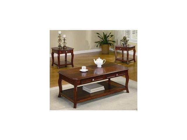 Traditional Brown Cherry Wood Coffee End Table 3 Piece Set By Coaster