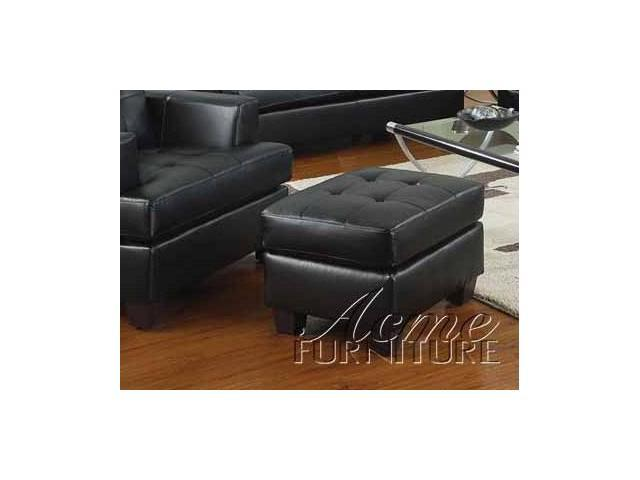 Contemporary Black Bonded Leather Ottoman by Acme Furniture